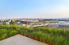 Olympicet Stadium Tae Kwon gör som sett från Stavros Niarchos fundamentAten Grekland Royaltyfri Foto