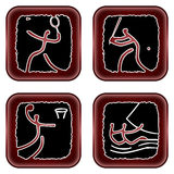 Olympicons. Illustration of four of the olympic sports Royalty Free Stock Photos