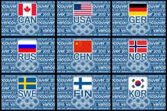 Olympics 2010 flags. The Canadian, Amarican, German, Russian, Chinese, Norwegian, Swedish, Finnish and South Korean flag with Vancouver olympic background Royalty Free Illustration