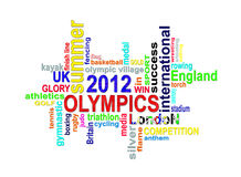 Olympics 2012 - London Summer Games word cloud. Summer Olympic games 2012 words cloud for a sporting event taking place in London, Great Britain Royalty Free Stock Image
