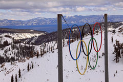 Olympics 50th anniversary. Olympic rings in Squaw Valley California Stock Photo