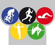 Olympics. Vector illustration of five olympic sports Stock Photos