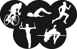 Olympics. Vector illustration of five olympic sports Royalty Free Stock Photos