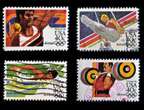 Olympics 84. Collection stamps printed in USA dedicated to Olympics 84 Stock Photos