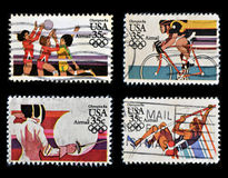 Olympics 84. Collection stamps printed in USA dedicated to Olympics 84 Royalty Free Stock Image