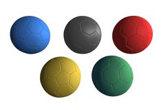 Olympics Balls soccer. Five balls representing olympic games:They recall the five rings of the official flag of the Olympic Games Stock Photo