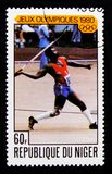 Olympics di Mosca - giavellotto, serie dei giochi olimpici, circa 1980 Fotografia Stock Libera da Diritti