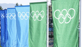 Olympics-Fahnen Vancouver Stockfotos