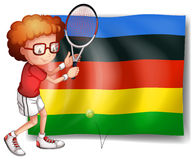 Olympics flag and tennis player Royalty Free Stock Photo