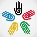 Olympics Games 2012 hands. Olympic Games colorfull hands in circle over white background. Vector file layered for easy manipulation and customisation Stock Illustration