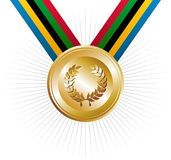 Olympics games gold medal with laurel wreath. Olympics Games gold medal with ribbons in the colors which represents the five continents on white background Royalty Free Stock Image