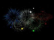Olympics gekleurd vuurwerk Stock Foto's