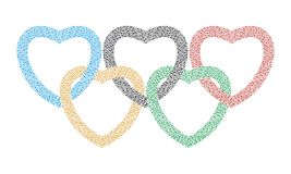 Olympics. Heart drawn as the Olympic rings. I love the Olympics. Vector format Stock Photos