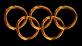 Olympics logo on  fire. Olympics logo on real fire Royalty Free Stock Photos