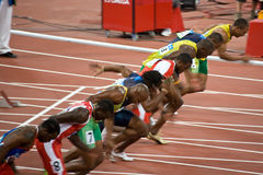 Olympics Mens 100 Meter Sprint Stockfotos