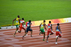 Olympics mens 100-meter sprint. Usain Bolt sets new world record  for mens 100-Meter sprint at the 2008 Olympic games in Beijing Stock Image