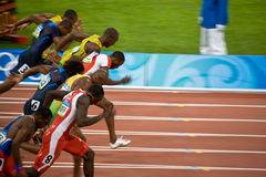 Olympics mens 100-meter sprint. Usain Bolt sets new world record  for mens 100-Meter sprint at the 2008 Olympic games in Beijing Royalty Free Stock Photography