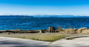Olympics From Seahurst Beach 4. A view of the Olympic Mountains from Seahurst Beach Park in Burien, Washington royalty free stock images
