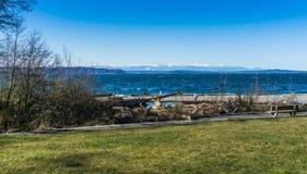 Olympics From Seahurst Beach. A view of the Olympic Mountains from Seahurst Beach Park in Burien, Washington stock image