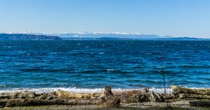 Olympics From Seahurst Beach 8. A view of the Olympic Mountains from Seahurst Beach Park in Burien, Washington royalty free stock images