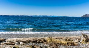 Olympics From Seahurst Beach 9. A view of the Olympic Mountains from Seahurst Beach Park in Burien, Washington royalty free stock images