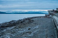 Olympics And Shoreline 3. A view of the Olympic Mountains from the West Seattle shoreline Royalty Free Stock Photography