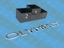 OLYMPICS - sport championship concept. 3D illustration of OLYMPICS title with a podium, and a colored background vector illustration