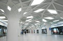 The Olympics subway station. Located at the Olympics park, interior decoration imitation forest Stock Photo
