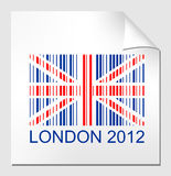 Olympics symbol London. Illustration of bar code on sticker with angled corner, london 2012 royalty free illustration