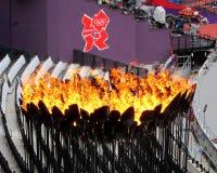 Olympics 2012 van Londen Vlamembleem Stock Fotografie