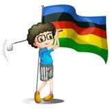 Olympics vlag en golfspeler stock illustratie