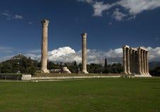 Olympieion废墟在雅典希腊 免版税图库摄影