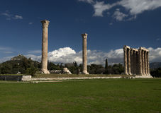 Olympieion ruins in athens greece. Royalty Free Stock Photography