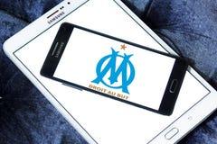 Olympique de Marseille soccer club logo. Logo of french soccer club Olympique de Marseille on samsung mobile Stock Photo