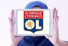 Olympique Lyon, Olympique Lyonnais, football club logo. Logo of french football club Olympique Lyon, Olympique Lyonnais, on samsung tablet holded by arab muslim Stock Photography