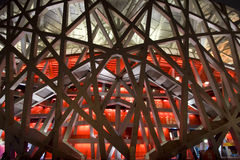 Olympis stadium close-up. Close up of the Beijing Olympic Stadium also known as the Bird's Nest with its steel carcass. The stadium will host the main track and Royalty Free Stock Images