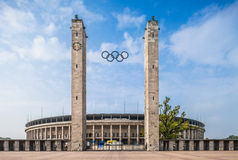 Olympis Staduim i Berlin, Tyskland Fotografering för Bildbyråer