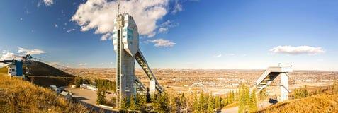 Olympisch het Park Breed Panoramisch Landschap Calgary Alberta Prairies van Canada stock afbeeldingen