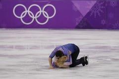 _olympisch kampioen Aljona Savchenko en Bruno Massot van Duitsland uit:voeren in de paar schaatsen vrij schaatsen bij de 2018 win royalty-vrije stock afbeelding
