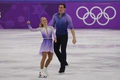 _olympisch kampioen Aljona Savchenko en Bruno Massot van Duitsland uit:voeren in de paar schaatsen vrij schaatsen bij de 2018 win royalty-vrije stock fotografie