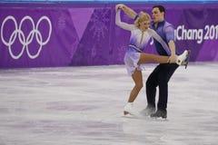 _olympisch kampioen Aljona Savchenko en Bruno Massot van Duitsland uit:voeren in de paar schaatsen vrij schaatsen bij de 2018 win royalty-vrije stock foto