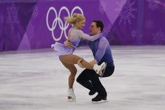 _olympisch kampioen Aljona Savchenko en Bruno Massot van Duitsland uit:voeren in de paar schaatsen vrij schaatsen bij de 2018 win royalty-vrije stock afbeeldingen