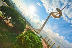 Olympisch stadion en dorp in Barcelona tijdens Olympische Spelen 1992 Royalty-vrije Stock Afbeeldingen