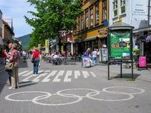 Olympisch teken in Lillehammer, Noorwegen Stock Afbeelding