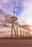 Olympische Antenne im Stadionspark von Barcelona stockfotos