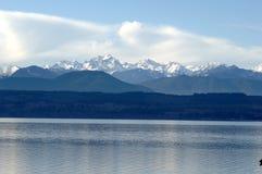 Olympische Berge im Winter Stockfoto