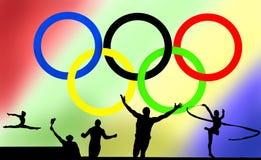 Olympische embleem en spelen stock afbeelding