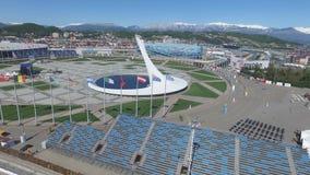 Olympische Feuer-Schüssel SOCHIS, RUSSLAND Sochi in der Olympiapark-Antenne Olympische Feuer-Schüssel Sochis im Park Zentrale Ste Stockfoto