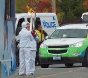 Olympische Flammeübertragung Stockbild