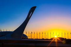 Olympische Flamme in Sochi-Park, Adler, Russland - Mai 2016: Lizenzfreies Stockbild